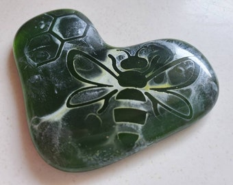 Recycled Glass Heart - Watercolor Bees - Worry Stone - Green Glass