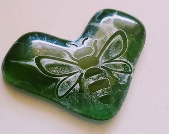 Small Recycled Glass Heart - Watercolor Bee - Green Glass