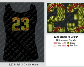 fd9546921d9 Softball Numbers (2) Rhinestone Tank Top for Women