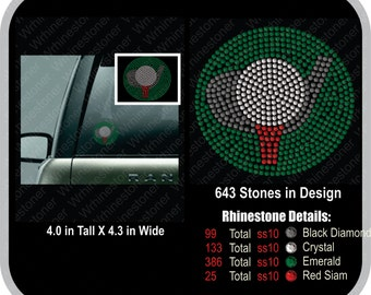 Golf Rhinestone Car Decal