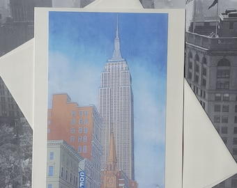 Fifth Avenue Morning - Fine Art Note Card, Empire State Building, NYC, Greeting Card, Birthday Card