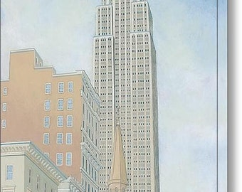 Fifth Avenue Morning - 12 x 16 Fine Art Giclee Canvas Print, Wall Art, Empire State Builiding, Home Decor, Gift, New York City