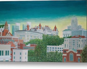 Sunset View Of Downtown Albany - 14 x 28 Fine Art Canvas Print, New York, Skyline, Cityscape, Hudson Valley, Wall Art, Home Decor, Gift