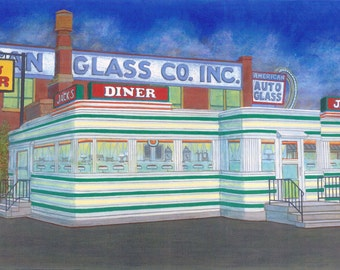 Jack's Diner - Fine Art Giclee Print, Home Decor, Kitchen Wall Art, Vintage Diner, Albany, Cityscape, New York, Gift, Night, 1940s