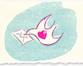 Hand Printed Card - Dove