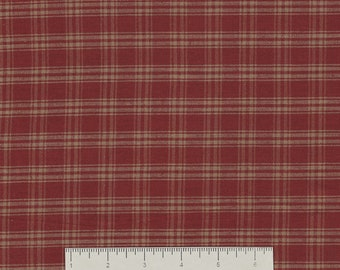 Dunroven House H-351 Country Red ~ Wheat ~ Navy Plaid Homespun Fabric ~ You Pick