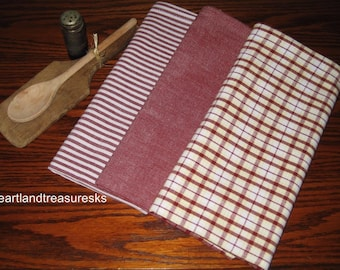 Beautiful Chambray Red Dunroven House DishTtowels Set Of 3 Stripe Solid Plaid