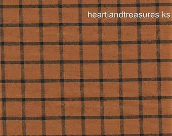 Dunroven House H 5050 Homespun Spiced Pumpkin / Black Fabric 1/2 Yd Cut