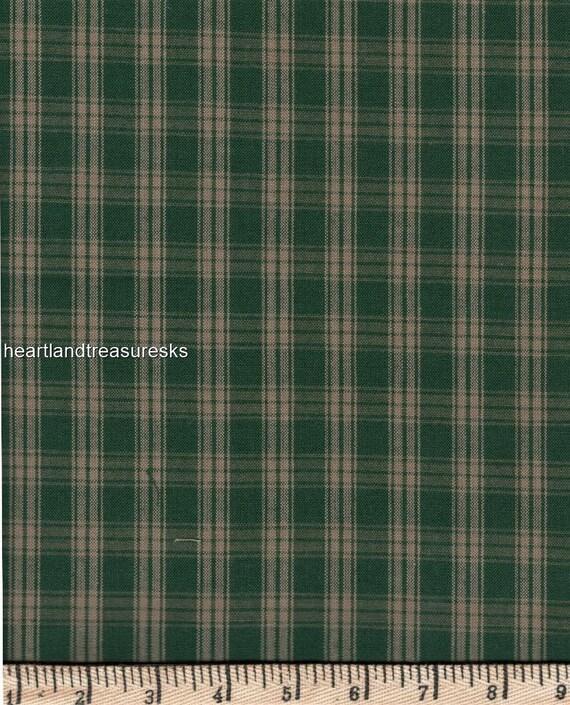 Dunroven House H-41  Homespun Green ~ Wheat Plaid   Fabric ~ You Pick