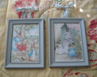 Pair of Framed Beatrix Potter Bunny and Kitten Prints