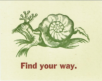 Single Letterpress Postcard Find Your Way