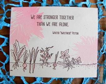 Single Letterpress Postcard Stronger Together