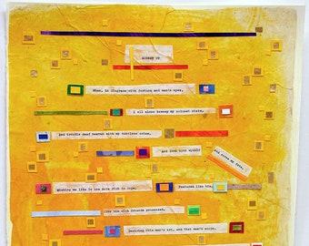 Shakespeare Sonnet 29 Art- Colorful Collage- Sonnet xxix - 15x22- Yellow, Orange- Poetry Art