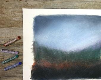 Landscape Painting- Field and Sky- Original Mixed Media- Woodland, Twilight, Evening- Blue, Rust, Green, Black- 8x10