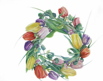 Flower Wreath Painting- 11x14- Original Watercolor- Tulip Wreath- Pink, Red, Yellow, Green