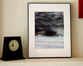 Black Storm Watercolor Print- Dark Cloudy Sky- Watercolour Reproduction- 8x10