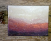 Abstract Landscape Painting- Acrylic on Canvas- Copper, Purple, Cream, White- 9x12x.5- Mixed Medium Art