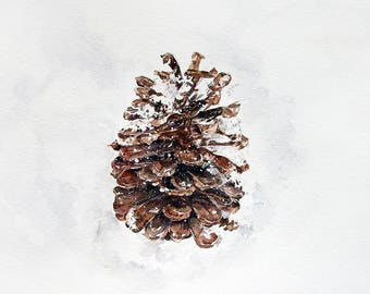 Pine Cone Print- Watercolor Painting- 7x10- Brown Cone, White Snow- Wall Art