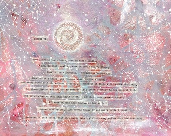 Sonnet 91- Pink Constellation Wall Art- 11x14- shakespeare sonnet xci- Pink, Purple, Metallic- Poetry Collage