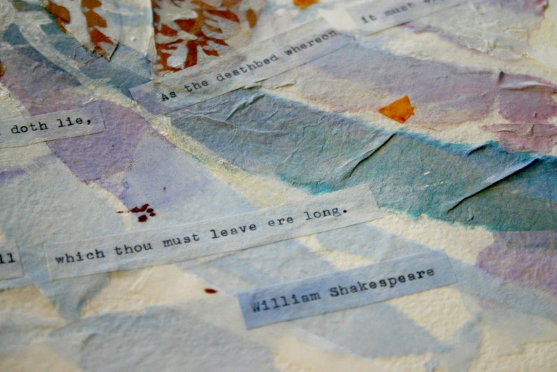 Shakespeare Sonnet 73 Collage 15x22 Original Mixed Media October Snow Charity Donation 15x22 Sonnet lxxiii Poetry Art Horizontal