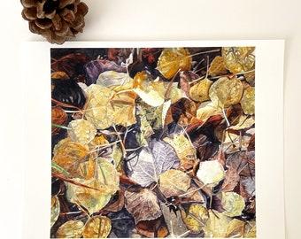 Golden Aspen Print- 8x10- Yellow, Gold, Brown- From Original Watercolor