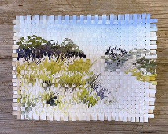 Beach Paper Weaving-  Watercolor Print Weaving- 8x10- White, Blue, Green- Unique Wall Art