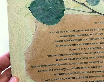 Sonnet 116 Wall Art- 8x10- Original Collage- Green, Beige- Aspen Leaves