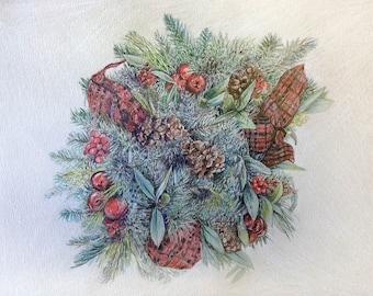 Christmas Wreath Art- 9x12- Original Drawing- Pine, Cones, Red Plaid Ribbon- Free US Shipping- Holiday Decor- Hostess Gift
