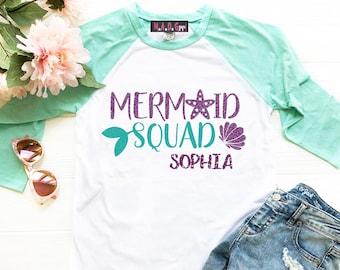Mermaid Shirt Birthday Squad Party Girls Raglan Tee
