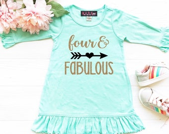 71077a302 Girls 4th Birthday Dress, Four and Fabulous, Fourth Birthday Dress, Birthday  Girl Dress, Mint and Gold Birthday Party