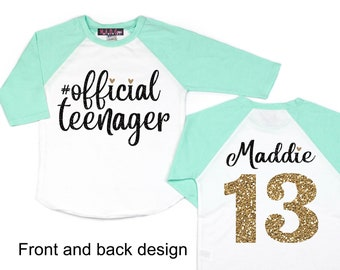 Girls 13th Birthday Shirt Official Teenager Double Digits Thirteenth Personalized
