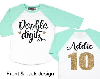 Girls 10th Birthday Shirt 10 Double Digits Tenth Personalized Mint Gold Party