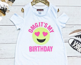 OMG Its My Birthday Shirt Girls Emoji Cold Shoulder Girl Face Party
