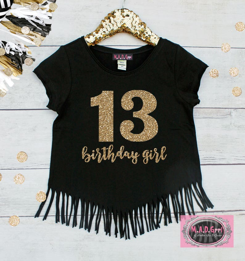 Girls 13th Birthday Shirt Double Digits