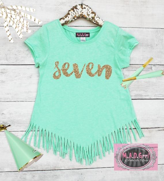 Girls 7th Birthday Shirt Seventh