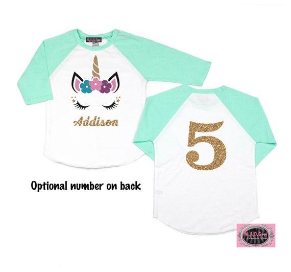 Unicorn Shirt Birthday Girl Girls Personalized 4th