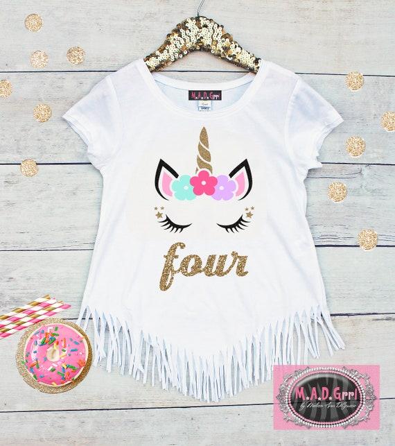 Girls 4th Birthday Shirt Unicorn Fringe Four