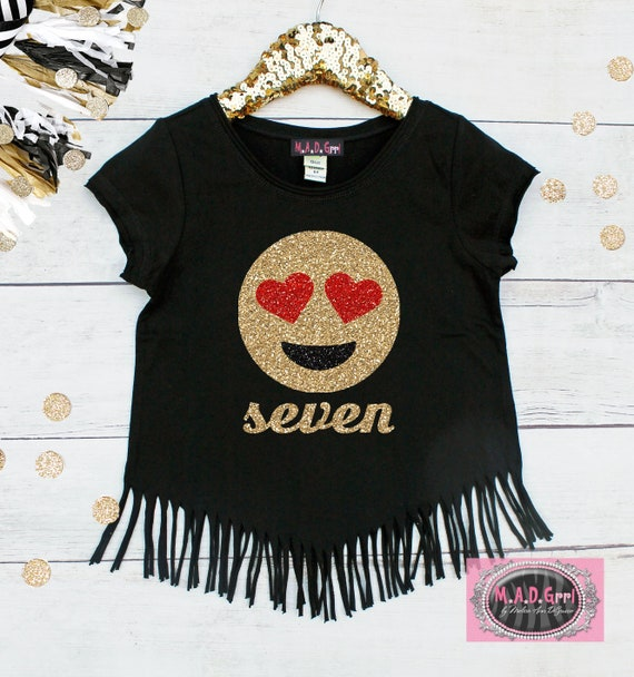 Girls Emoji Shirt 7th Birthday Girl Party