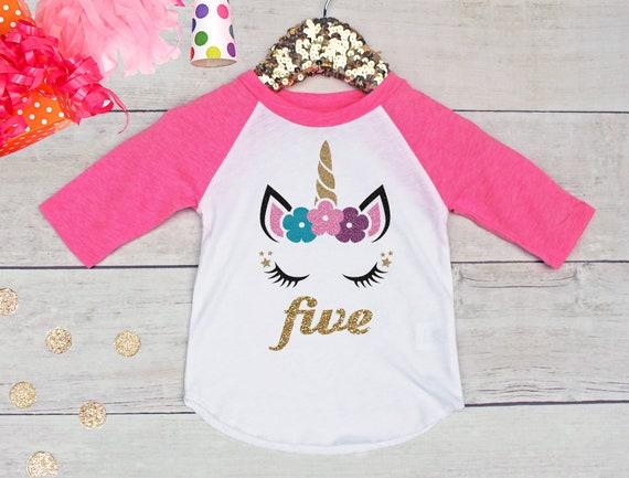 Girls 5th Birthday Shirt Unicorn