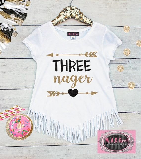 Girls 3rd Birthday Shirt Third Threenager Three Girl