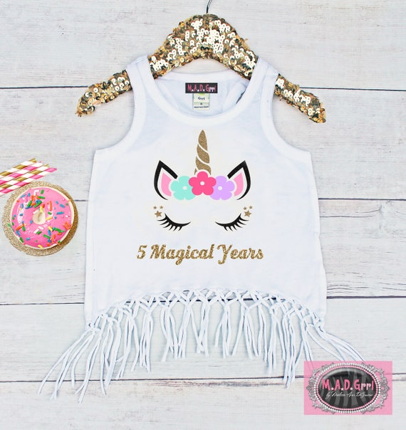 Girls Unicorn Shirt 5th Birthday