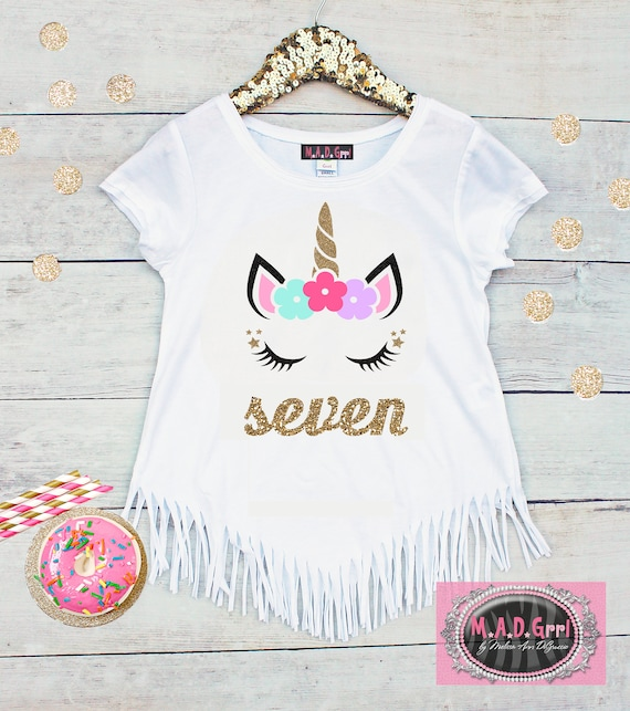 Girls 7th Birthday Shirt Unicorn