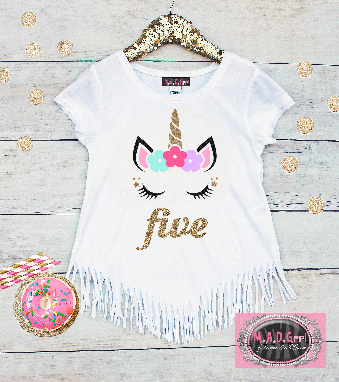 Girls 5th Birthday Shirt Unicorn Fringe Five