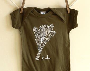 Kale Baby Onesie, Infant bodysuit,  Babies & Kids, Baby Shower Gift, Eat Kale, Baby gift, eco friendly, Vegetables, Screen Printed