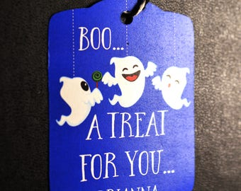 Friendly Ghosts Halloween Party Tags - 8 Halloween Tags - Blue and White Ghosts Halloween Candy Tags
