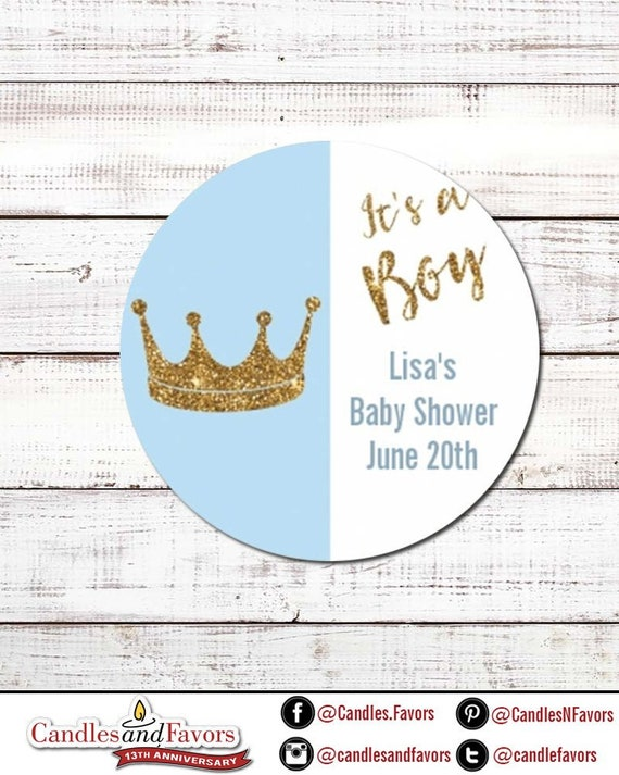 It/'s A Boy Gold Glitter Crown Round Personalized Baby Shower Sticker Labels