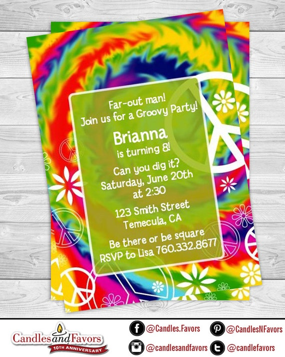 Peace Tie Dye Birthday Party Invitation Professionally Printed Or