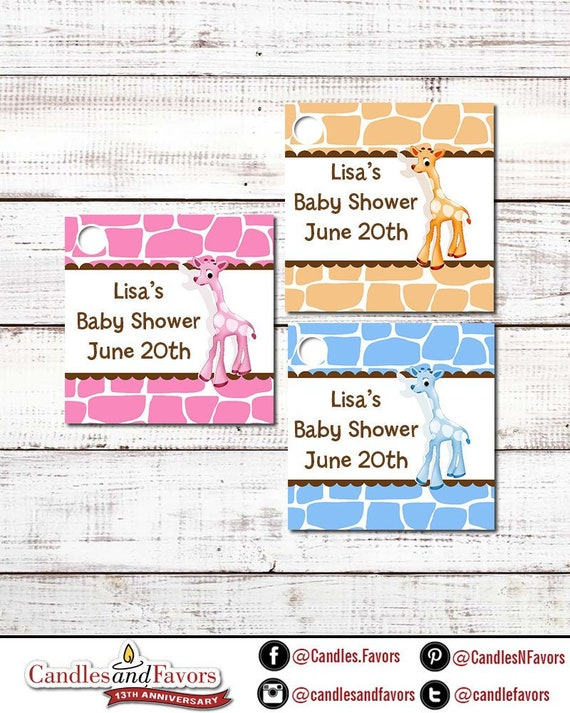 Giraffe Baby Shower Custom Favor Tags Set Of 20 Personalized