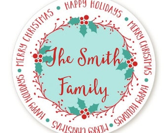 Mistletoe Wreath - Personalized Round Christmas Sticker Labels - Mistleoe Merry Christmas Stickers - Available in 7 Different Sizes