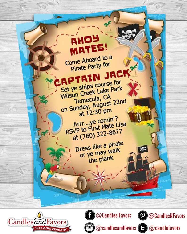photo about Pirate Treasure Map Printable titled Pirate Treasure Map - Printable Birthday Bash Invitation